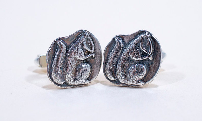 Woodland Squirrel  Squirrel Cufflinks  Silver Cufflinks  image 0