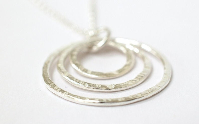 Three Circle Necklace  Silver Circle Necklace  Contemporary image 0