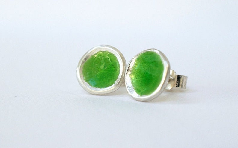 Silver and Green Enamel Stud Earrings  Enamelled Earrings  image 0