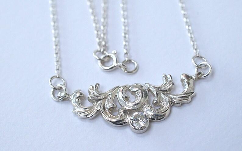 Silver Rococo Style Necklace  Rococo Necklace  Rococo and image 0