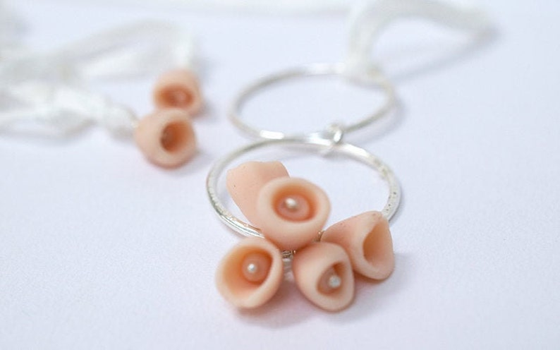 Silver and Clay Necklace  Flower Jewellery  Pink coloured image 0