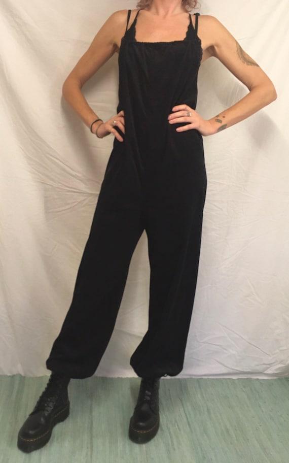 Vintage black velvet jumpsuit