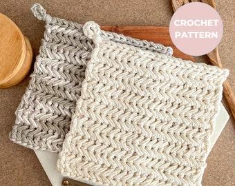 CROCHET PATTERN - Heart of Home Pot Holder - Herringbone Single Crochet Pot Holder - Instant PDF Download