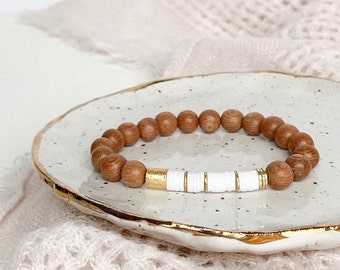 Rosewood 8mm Bracelet with Off White Clay Heishi/Disc beads and 14k Gold Filled accent beads.