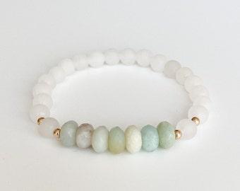 Amazonite & White Jade Matte Gemstone Bracelet - 6mm