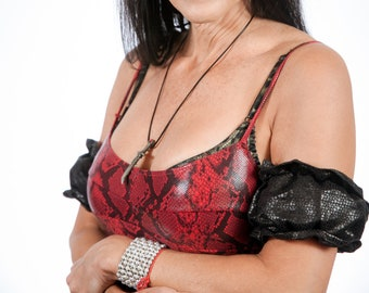 Upper Arm, Arm Band, Accessory in Leather Like Lizard Embossed