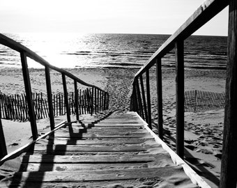 Black & White Photography - The Stairs at the End of the World - fine art print, home decor, wall photo, beach, stairs, summer