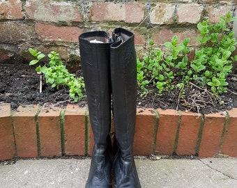 negli anni ' 70 stivali di pelle alti fino al ginocchio donna UK 4, EU 37