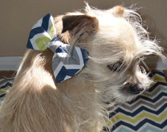 Chevron dog bandana and bow tie