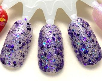 Perfectly Purple - All Purple Glitters, Holographic Purple Glitter Nail Polish, purple nail polish, glitter topper, vegan