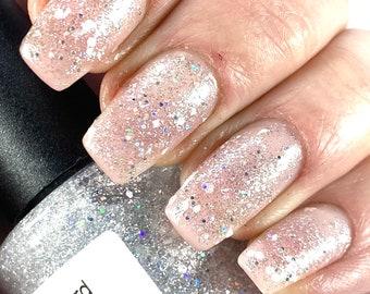 Blizzard -Silver Holographic White Glitter Nail Polish 5 free nail polish handmade indie nail polish vegan cruelty free nail polish