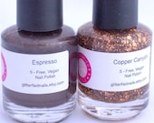 Brown nail polish set, brown bronze copper, Fall Autumn nails, glitter topper and base color set, copper glitter, neutral nails,