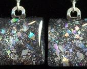 Black sparkle earrings, silver holo glitter earrings, nail polish jewelry, handmade lead-free, nickle-free earrings, gift box