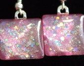 Soft Pink sparkle earrings, silver holo glitter earrings, nail polish jewelry, handmade lead-free, nickle-free earrings, gift box