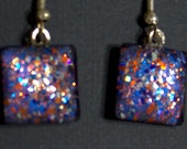 Royal blue and orange glitter, square glass cab earrings, hand-painted earrings, glitter nail polish jewelry, fishhook earrings