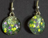 Mardi Gras earrings purple green and yellow gold glitter nail polish jewelry Nola Fat Tuesday