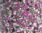 Pure Fun- Fuchsia, Pink, Black, Grey, Glitter Nail Polish, Holographic Glitter, nail polish, indie nail polish