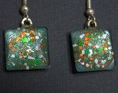 Orange and green earrings, miami hurricanes colors, glitter sparkly fishhook earrings, ear wire, gift box