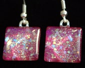 Fuchsia pink sparkle earrings, silver holo glitter earrings, nail polish jewelry, handmade lead-free, nickle-free earrings, gift box