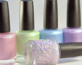 Nail polish set, Unicorn Magic, Matte Pastel Polish, Star Glitter,  Pink / Purple / Blue / Spring Green, Easter nails, pastel rainbow