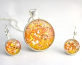 Candy Corn, Jewelry Set, Yellow Orange White, Earrings and Necklace, Glitter Pendant, Candy Corn Pendant, Sterling Silver Necklace