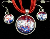 Independence Day 4th of July Jewelry Set, Patriotic Earrings Necklace, Red White Blue, Flag Glitter Pendant, Stars Stripes Necklace
