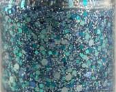 Tropical Dream - Teal Blue Aqua Holographic Silver Glitter Nail Polish 5 free handmade nail polish indie nail polish vegan cruelty free
