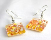 Candy Corn earrings, yellow orange white, glitter earrings, Halloween jewelry, fish hook earrings, ear wire