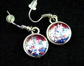red or blue earrings, star glitter earrings, nail polish jewelry, flag inspired earrings, July 4th jewelry, patriotic