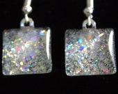 Silver sparkle earrings, silver holo glitter earrings, nail polish jewelry, handmade lead-free, nickle-free earrings, gift box