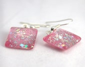 Soft Pink sparkle earrings, silver holo glitter earrings, nail polish jewelry, handmade lead-free, nickle-free earrings, gift box