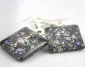 Black sparkle earrings, silver holo glitter earrings, nail polish jewelry, handmade lead-free, nickle-free earrings, gift box