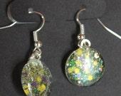 Mardi Gras earrings purple green and yellow gold glitter nail polish jewelry Nola Fat Tuesday