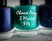 Mini Glitter Nail Polish 5 free nail polish handmade indie nail polish vegan cruelty free nail polish set mix and match