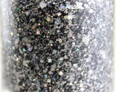 Blackout Glitter Nail Polish Black Gray Silver 5 free nail polish handmade indie nail polish vegan cruelty free nailpolish