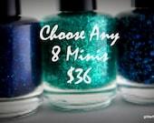Glitter Nail Polish Mini mix and match 5 free nail polish vegan cruelty free handmade indie nail polish shower favor wedding favor