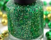 4 Leaf Clover - Green Gold Glitter Nail Polish, St Patrick's Day polish, 5 free handmade nail polish, vegan indie polish