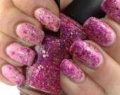 Passionate Kisses - Fuchsia pink glitter nail polish, magenta rose holographic glitter, 5 free, handmade indie nail polish vegan nail polish