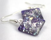Purple sparkle earrings, silver holo glitter earrings, nail polish jewelry, handmade lead-free, nickle-free earrings, gift box