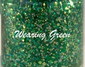Green Gold Glitter Nail Polish St Patrick polish 5 free handmade nail polish vegan cruelty free indie polish