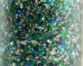 Goal Line - Bright Green Navy Blue Glitter Nail Polish Team Spirit 5 free nail polish vegan nail polish cruelty free green glitter