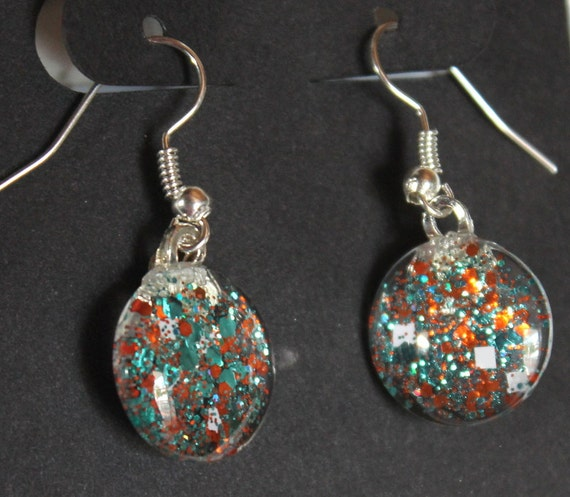 orange and teal earrings, miami dolphins colors, dangle glitter earrings, glitter jewelry, round earrings