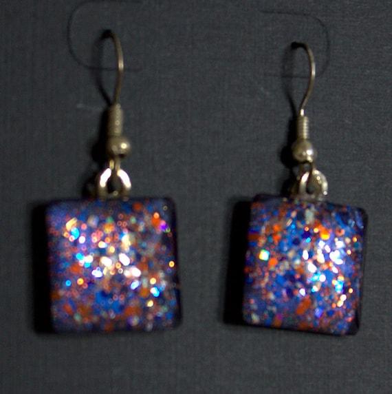 Royal blue and orange glitter, square glass cab earrings, hand-painted earrings, glitter nail polish jewelry, fishhook earrings