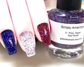 Simply American - Red White Blue Silver, Glitter Nail Polish, patriotic glitter topper, flag nail polish, July 4th, America, USA