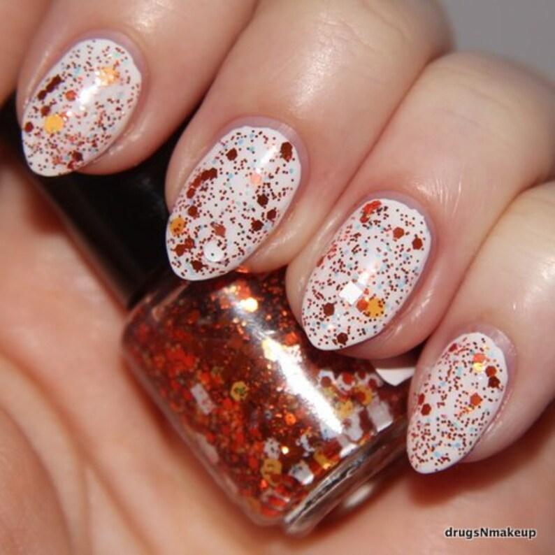 Coin Toss Orange and White Glitter Nail Polish Team Spirit 5 image 0