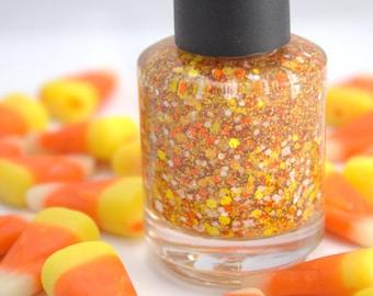 Candy Corn - Orange Yellow White Halloween Glitter Nail Polish 5 free nail polish vegan nail polish handmade indie nail polish cruelty free