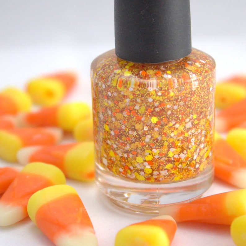 Candy Corn  Orange Yellow White Halloween Glitter Nail Polish image 0