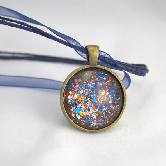 Blue Orange Silver, Glitter Pendant, Team Spirit, Bears, Broncos, Nail Polish Jewelry, Organza Ribbon Necklace