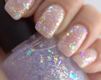 Shattered Opal - opalescent, iridescent, pastel rainbows, glitter nail polish, 5 free nail polish  vegan cruelty free nail polish