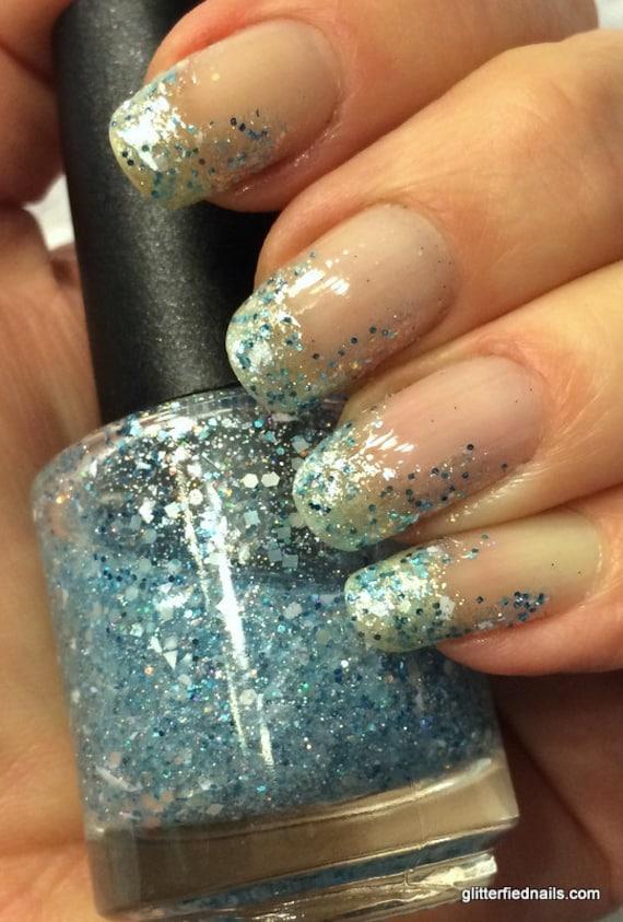 Frozen glitter nail polish winter white ice blue silver holographic handmade nail polish 5 free nail polish vegan nail polish cruelty free